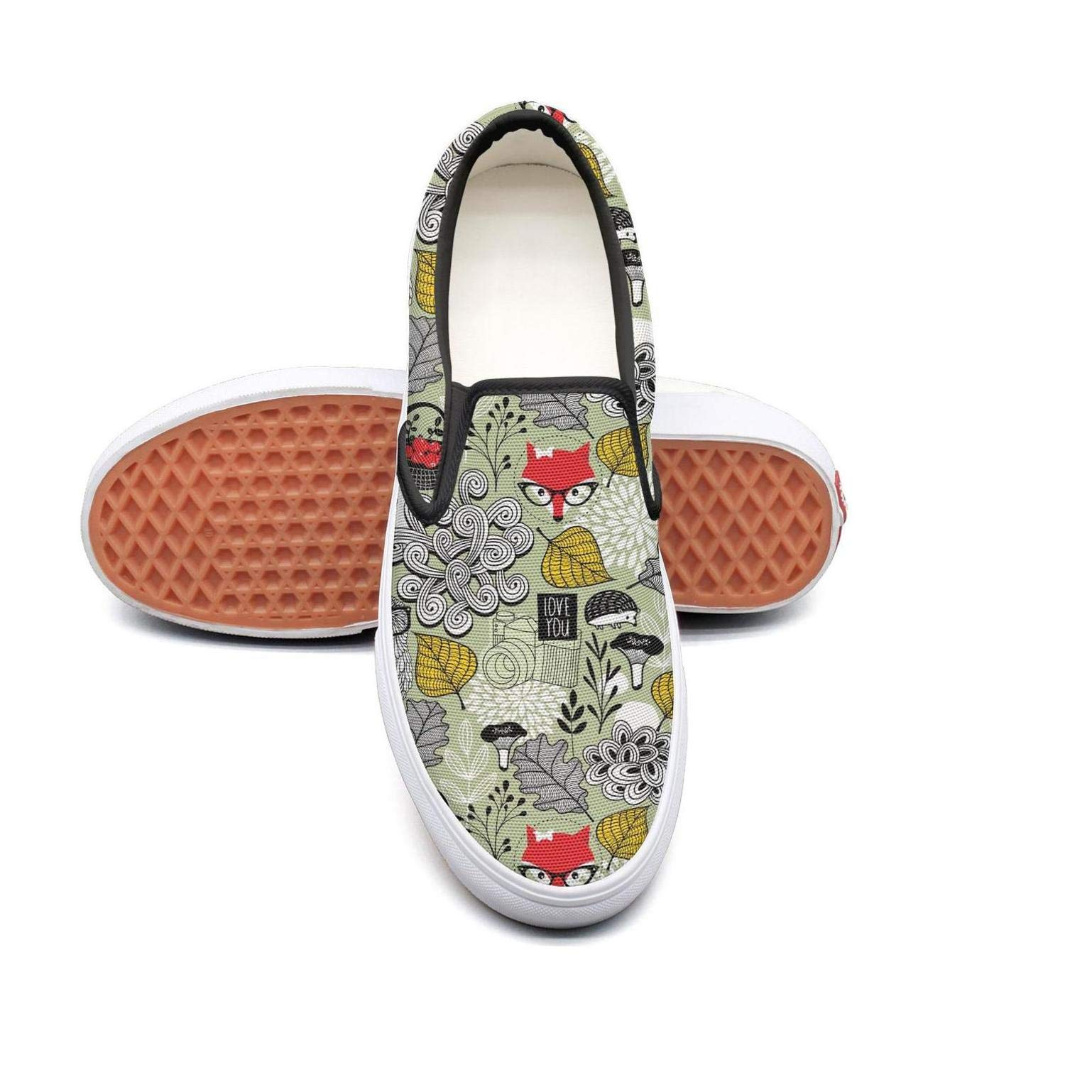 Uieort Forest Animals Owl Glasses Womens Slip On Loafers Shoes Rubber Sole