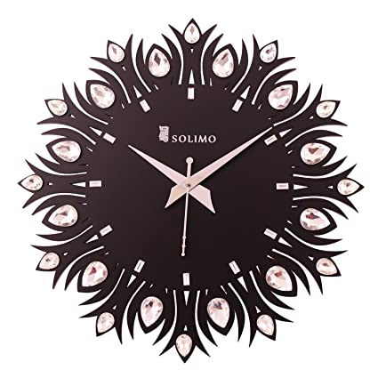 Amazon Brand - Solimo 11.25-inch Wooden Wall Clock - Embellished Leaf (Silent Movement, Black Frame)
