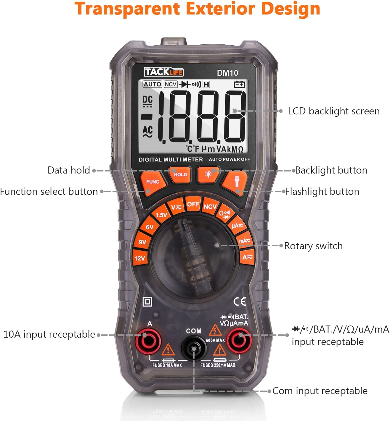 Flashlight and Data Retention DM10 Digital Electrical Tester Auto Ranging Battery Tester AC//DC Voltage AC//DC Current Resistance Continuity Diode Measuring Meter with NCV TACKLIFE Multimeter