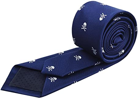 Alizeal Calavera–Corbata Estrecha para Hombre Marino