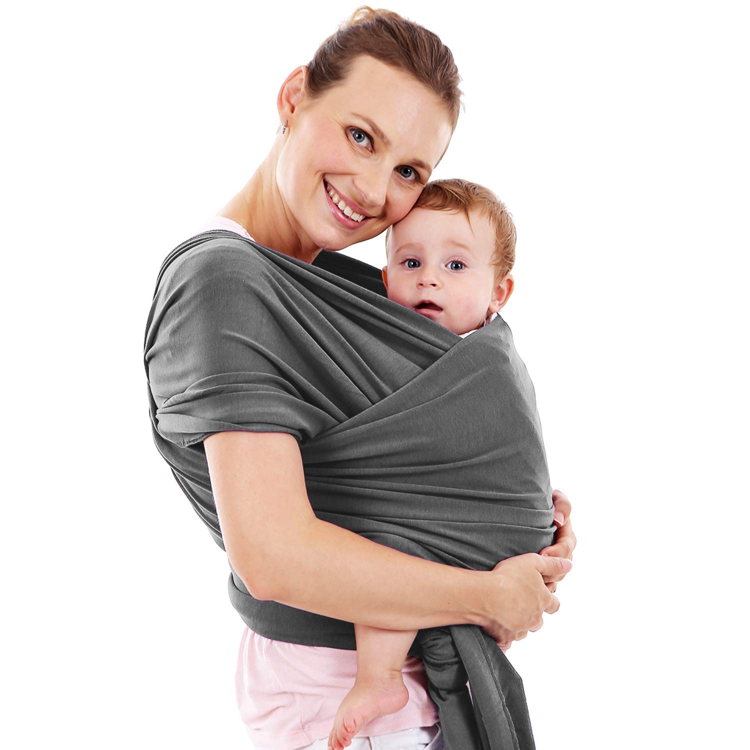 Zooawa Baby Wrap Carrier, Extra Soft Stretch Cotton Baby Carrier Sling and Wraps for Newborn, Breathable & Comfortable, Heather Grey