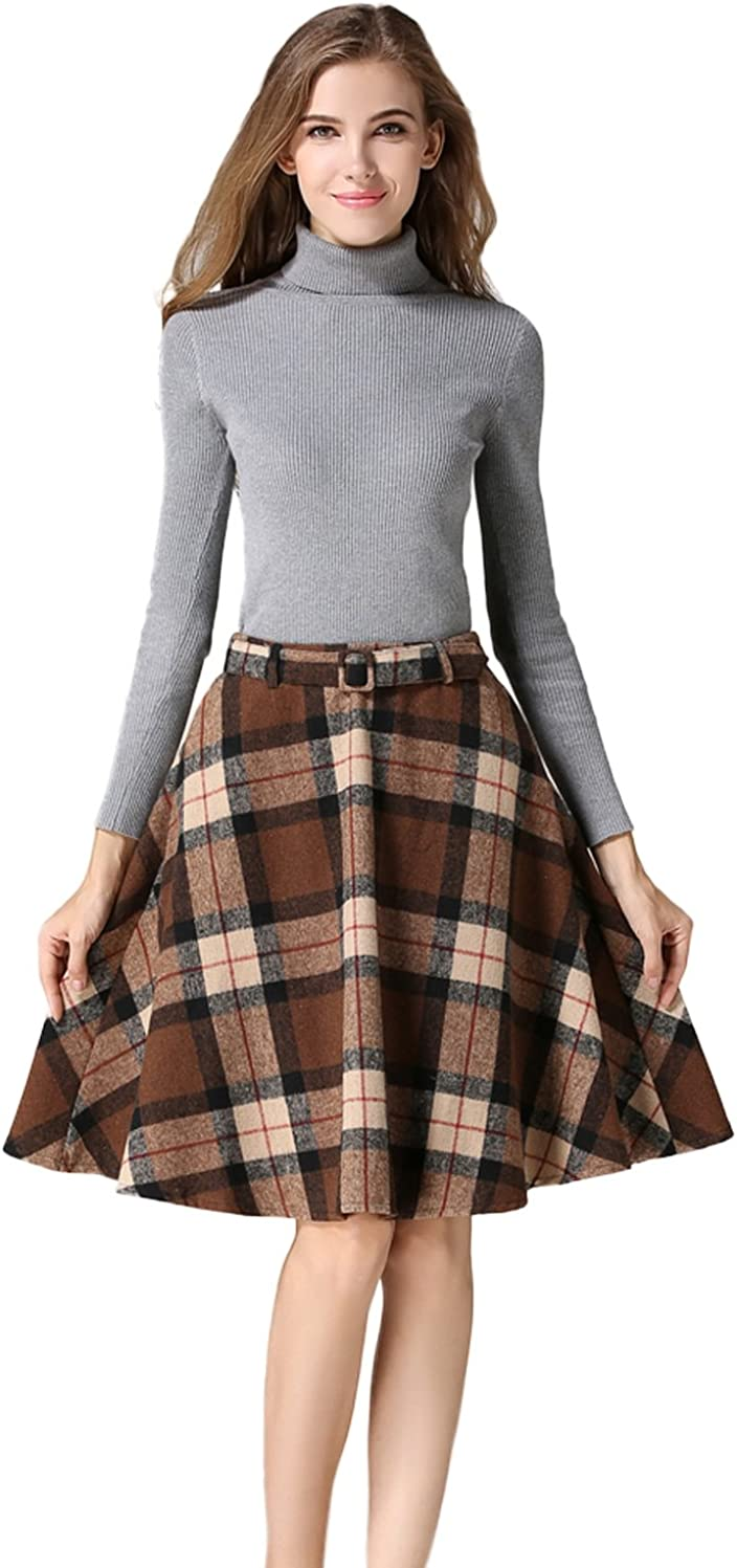 Tanming Women's Casual High Waisted Wool Check Print Plaid A-Line Skirt