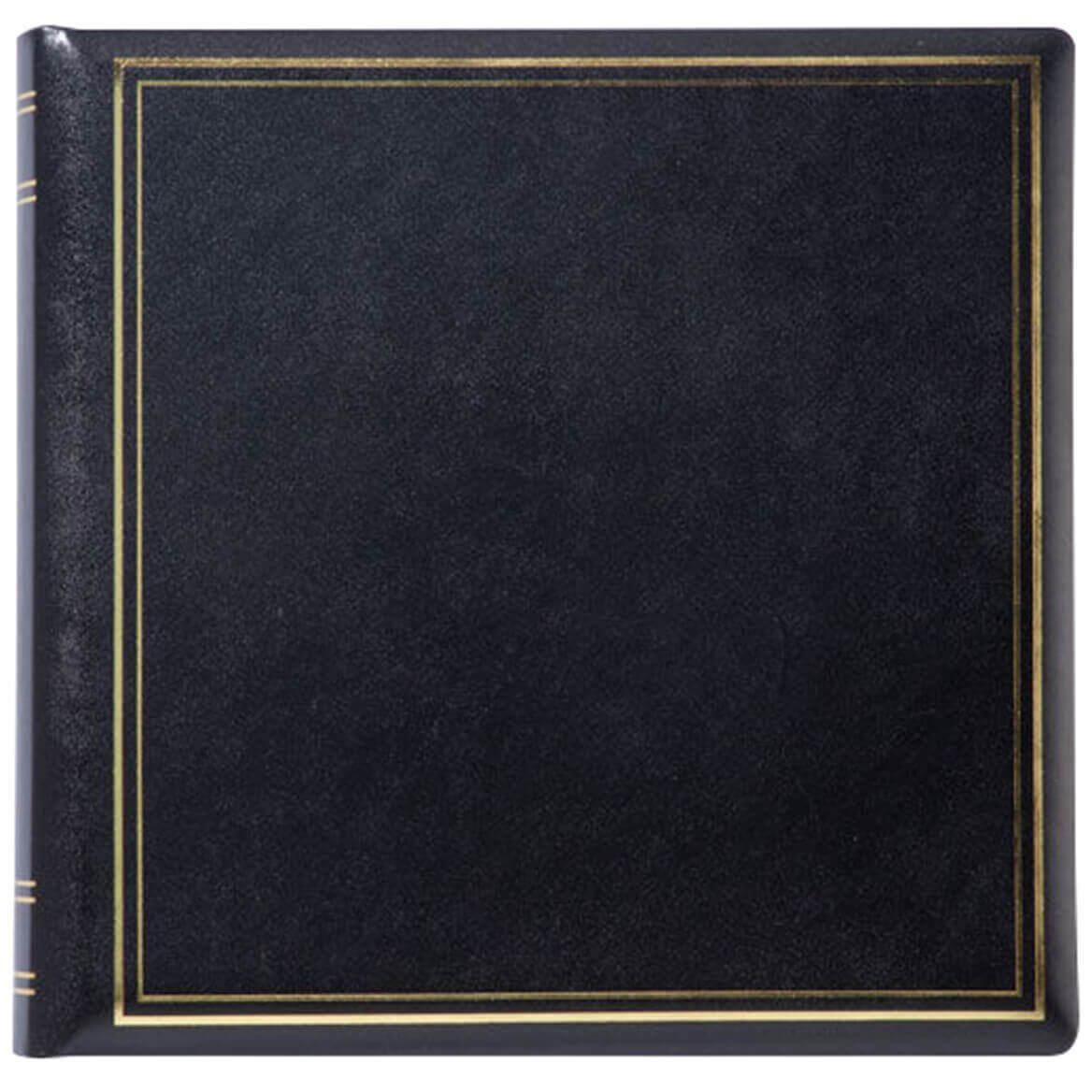 Personalized Presidential Leather Album - Black 3 Lines by Exposures