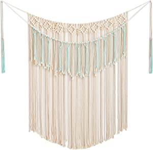 """ARTALL Wall Hanging Macrame Curtain Fringe Banner Bohemian Wall Decor Woven Tapestry Home Decoration for Wedding Apartment Blue 43"""" w x 51"""" h"""
