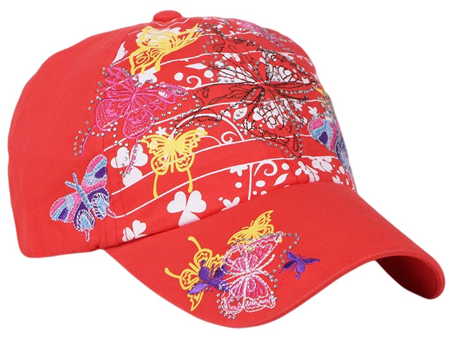 Qunson Womens Crystal Butterfly Embroidered Sequins Baseball Cap Hat