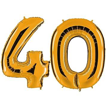 Globo de oro 40 - XXL gigante de 100 cm para 40 -. Fiesta de ...