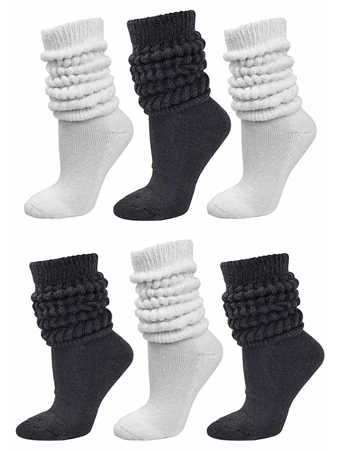 Black /& White All Cotton 6-Pack Extra Heavy Super Slouch Socks