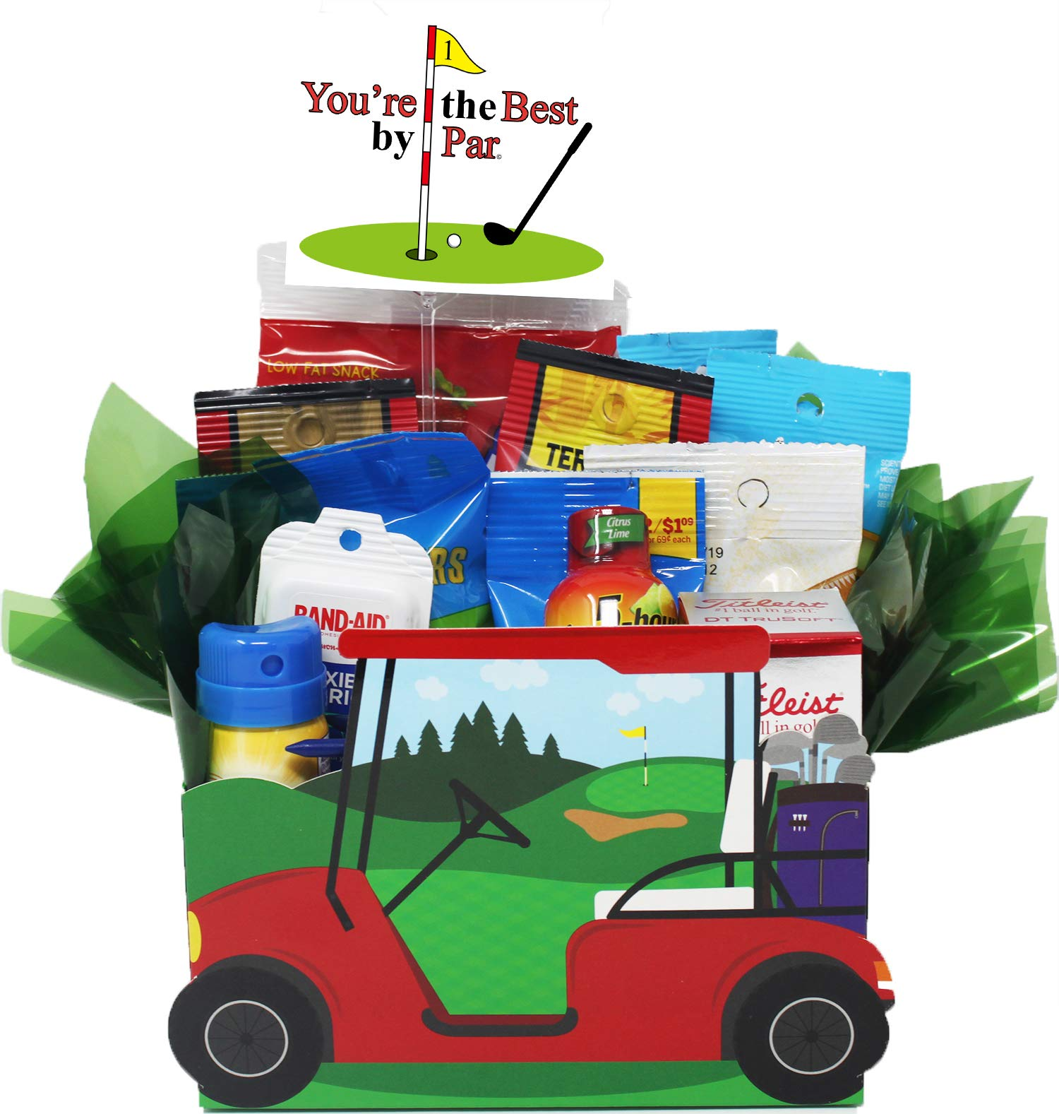Unique Gift Idea for the Golfer Who Has Everything! ''You're the Best by Par''Golf Cart Gift Basket loaded with Snacks,Titleist Golf Balls, Wooden Tee's, Supplies and Personalized Gift Card.