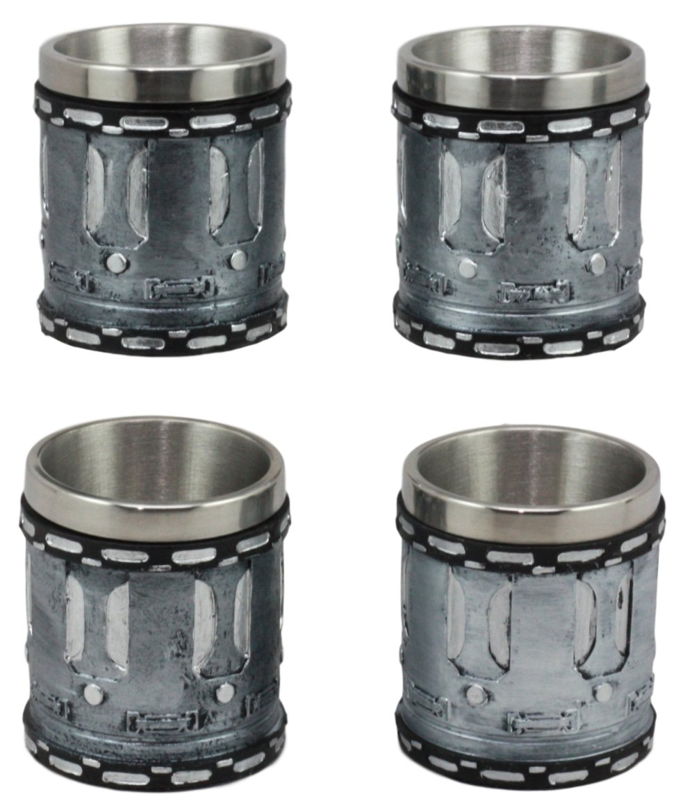 Ebros Western Novelty Revolver Pistol Gun Barrel Cylinder Shot Glasses 2-Ounce Set Of 4 Resin Housing With Stainless Steel Liners Great Souvenir And Party Hosting Idea (Set of 4)
