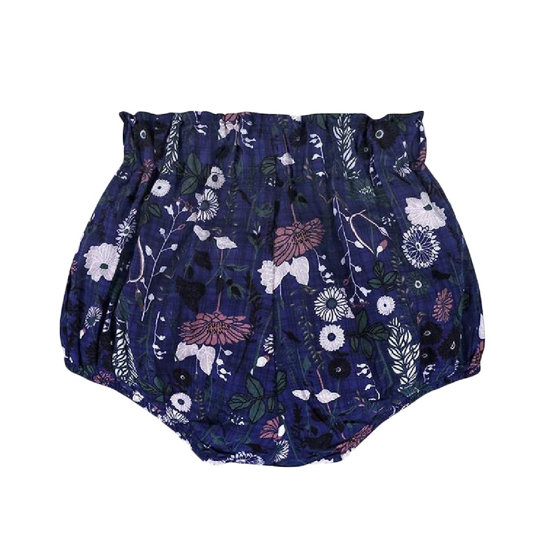 Bigbarry Girls' Corduroy Boys Elastic Waist Cute Short Blue2 4T