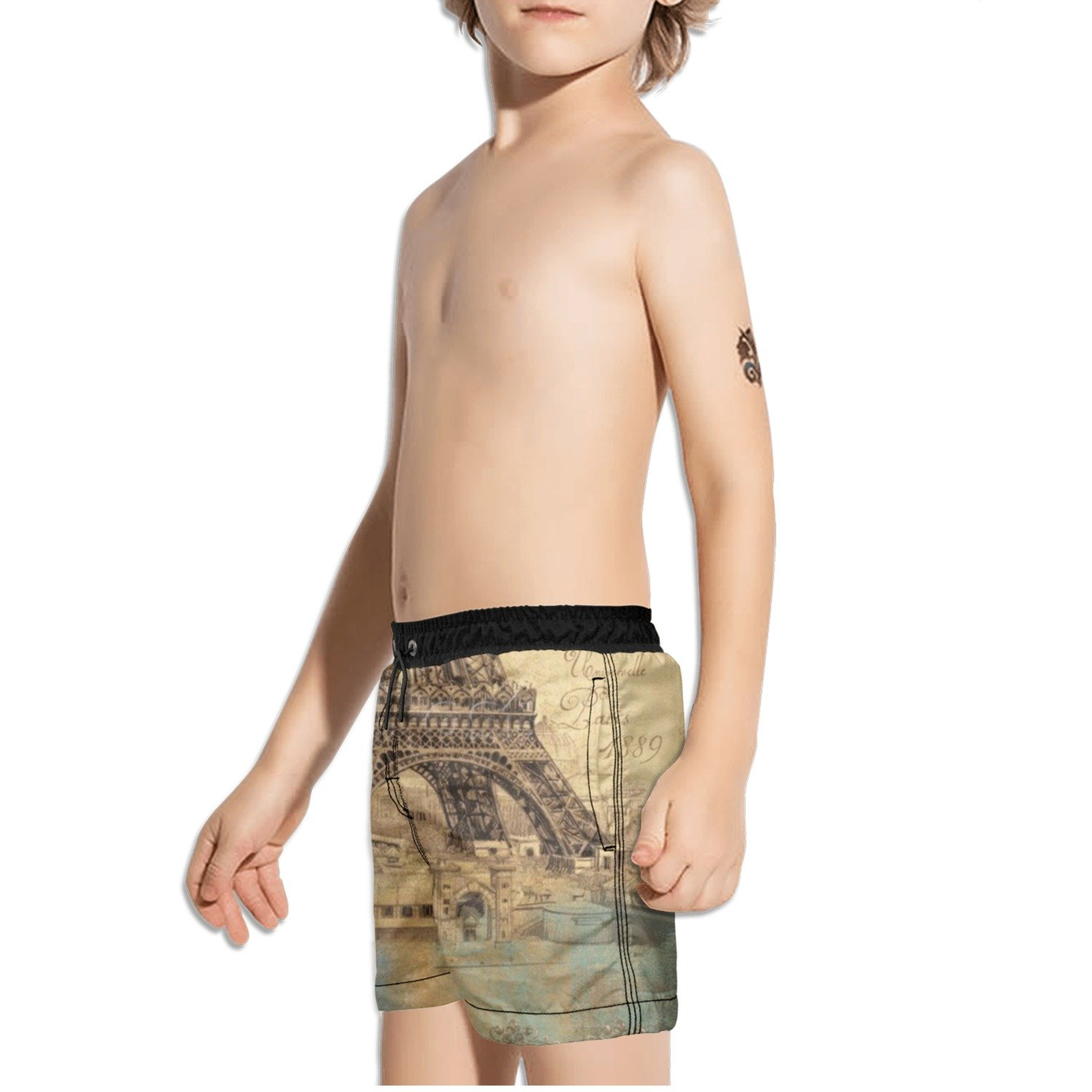 Ouxioaz Boys Swim Trunk Paris Vintage Eiffel Tower Beach Board Shorts