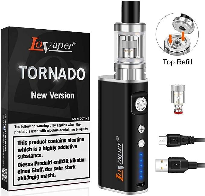 Vape Tornado Box Mod with 2200 mAh Battery E Cigarette Starter Kit with 0.5ohm 2.0ml Top Refill Tank Vape Pen E Cigarettes TPD Compliant No Nicotine E Cig No Vape Liquid