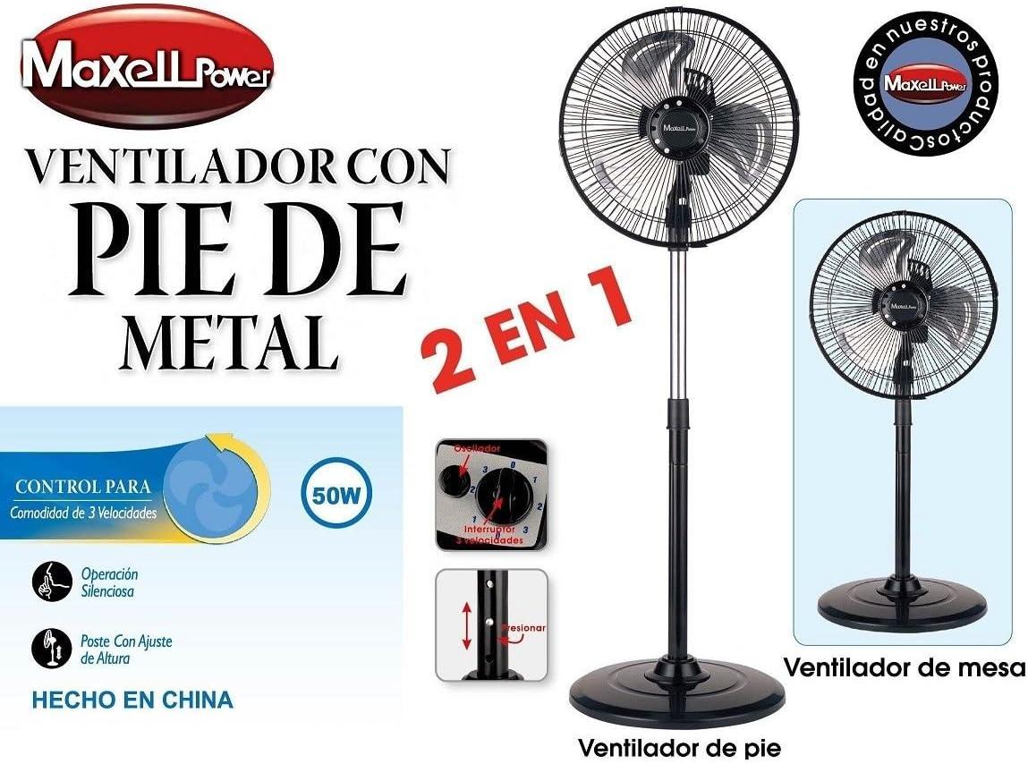 Maxell Power CE VENTILADOR DE PIE SOBREMESA METAL 50W 10 ...