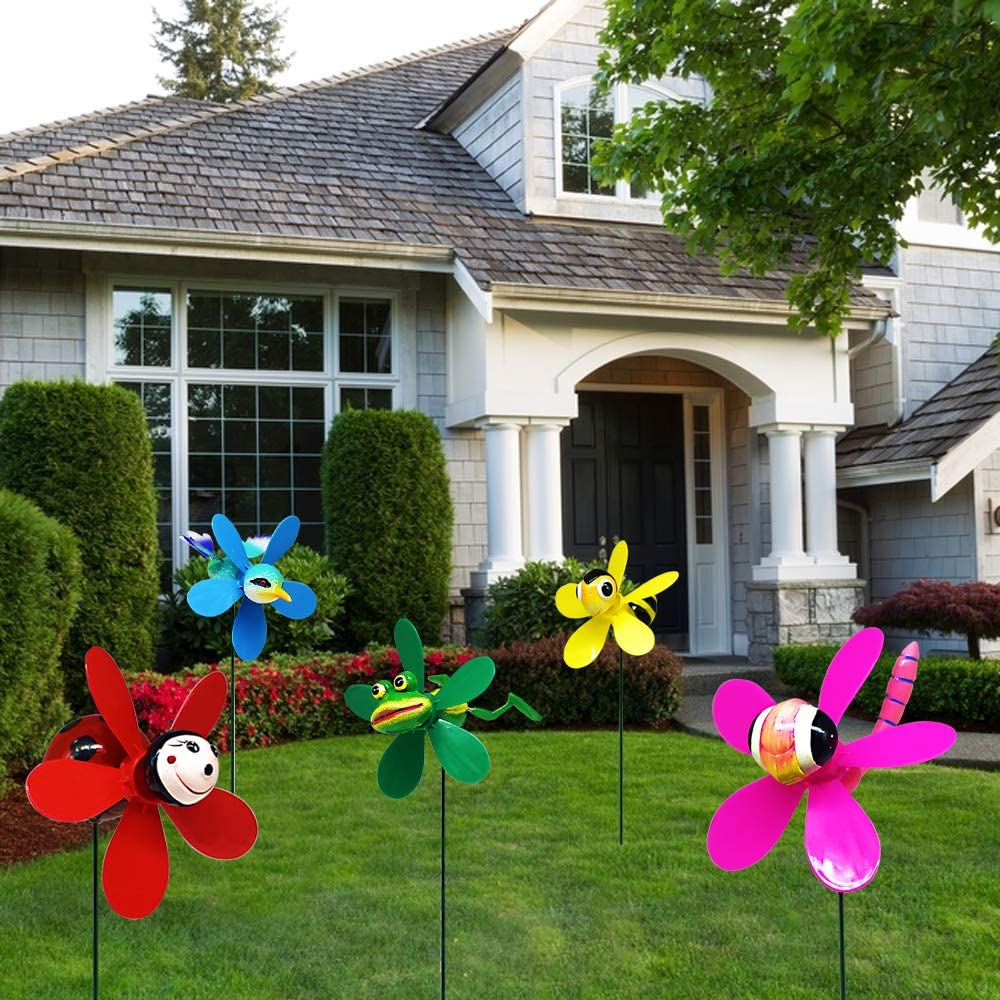 FENELY Garden Pinwheels Whirligigs Wind Spinner Windmill Toys for Kids Yard Decor Lawn Decorations Hummingbird Decorative Garden Stakes Outdoor Whirlygig Windmills Gardening Art Whimsical Baby Gifts