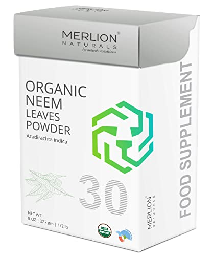 Organic Neem Leaves Powder by Merlion Naturals Azadirachta indica 8 OZ