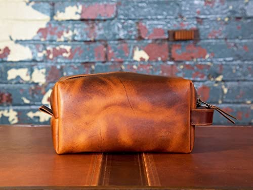 04aab6e6946a Travel Toiletry Bag in Full-Grain Brown Leather Portable Dopp Kit for  Shaving and Grooming Supplies