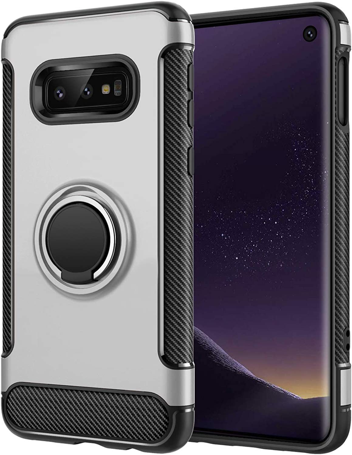 for Samsung Galaxy S10|S10e|S10 Plus|S10 5G case Hard Shell Cover Holder 360/°Rotating Ring Grip Cases for Magnetic Car Mount S10, Silver