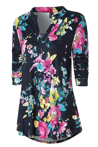 277fce9da594e Zattcas Womens Tunic Tops Long Sleeve Floral Print V Neck High Low Blouse  Shirt (Small