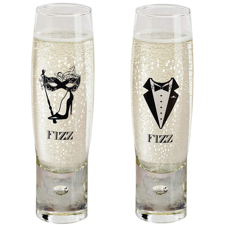 Durobor Alternato Bubble Base Set of 2 Ladies & Gents Fizz Stemless Champagne Glasses, 1 Each