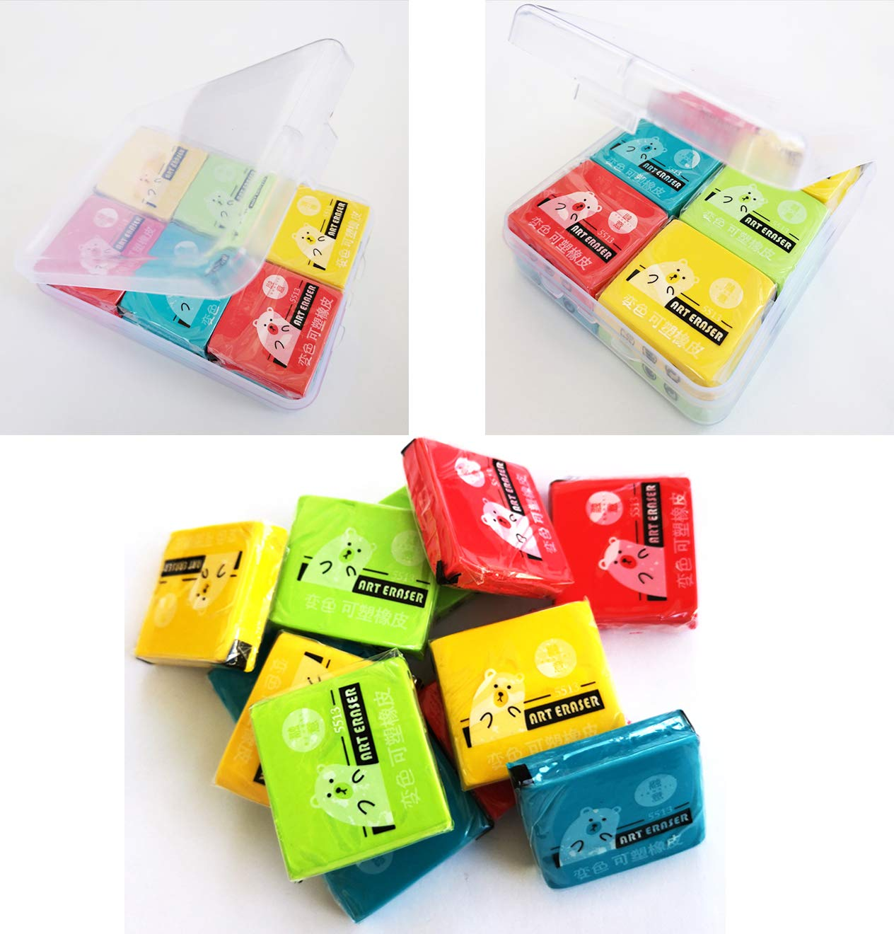 Erasers,Kneaded Rubber Eraser,Reusable and Non-Drying,12 Pack Large Size,Multiple Colour by SONGLAN (Image #1)