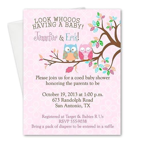 Amazon Com Personalized Owl Happy Owls Baby Shower Invitations Boy