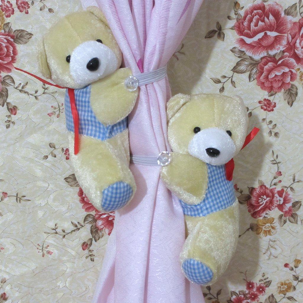 1 par de abrazaderas para cortinas de oso de peluche cortina de cierre magn/ético dise/ño con texto en ingl/és//para ropa de ni/ños habitaci/ón