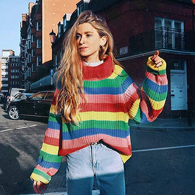JOFOW Women Striped Turtleneck Sweater, Rainbow Colorful Striped Block Patchwork Knitwear New Casual Knitted Tops Pullover at Amazon Womens Clothing store: