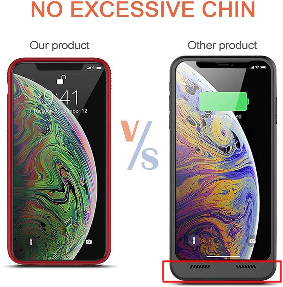 Euhan iPhone X//XS Battery Case Extended Battery Pack Protective Charger Case with Kickstand,Compatible with Wire Headphones Red 5.8 inch 4200mAh Rechargeable Charging Case for iPhone X//XS //10