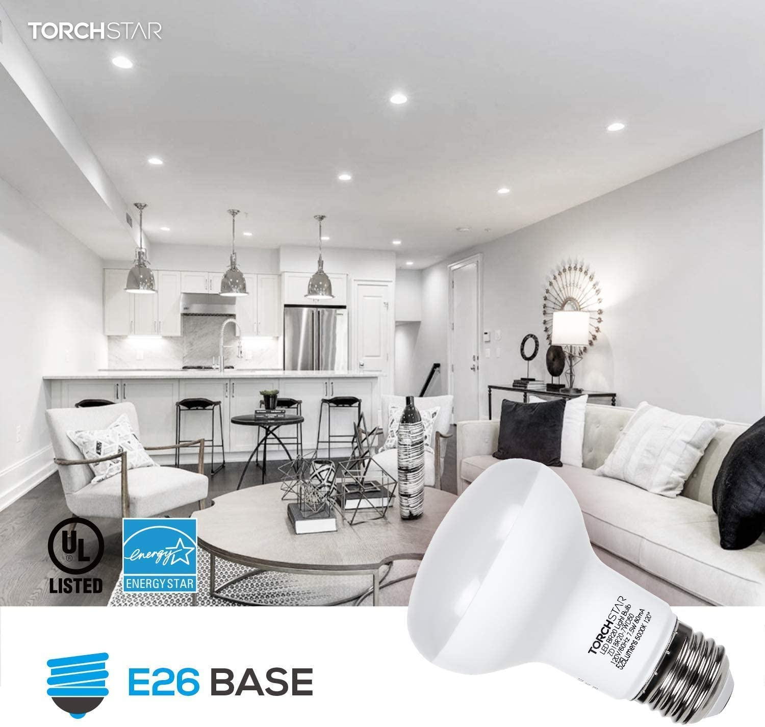E26 Base White /& 6-Pack 9.5W Dimmable A19 LED Light Bulb Interchangeable Base Or Clamp 5000K Daylight Classic Architect Table Lamp TORCHSTAR Metal Swing Arm Desk Lamp Bundle A19 LED Light Bulb