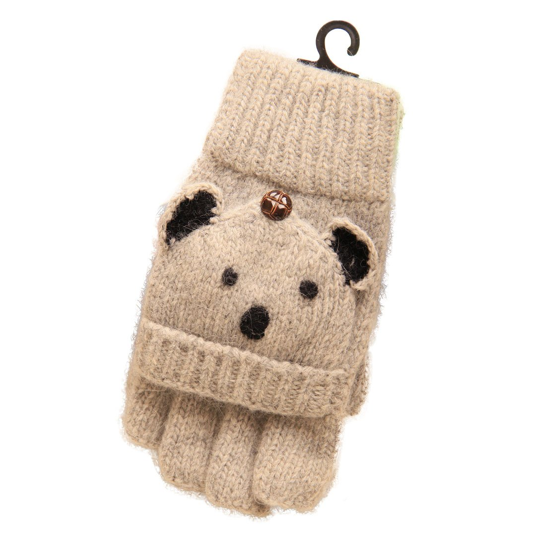 Naimo Toddler Kids Children Cute Animal Mittens Gloves Knitted Warm Wool Winter Gloves Half/Full Fingers Gloves