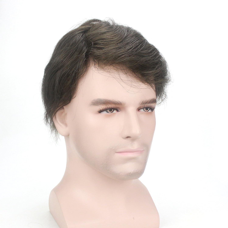 Lordhair Peluquín Super Thin Skin 100% Cabello Humano Color #4ASH Negro Oscuro: Amazon.es: Belleza