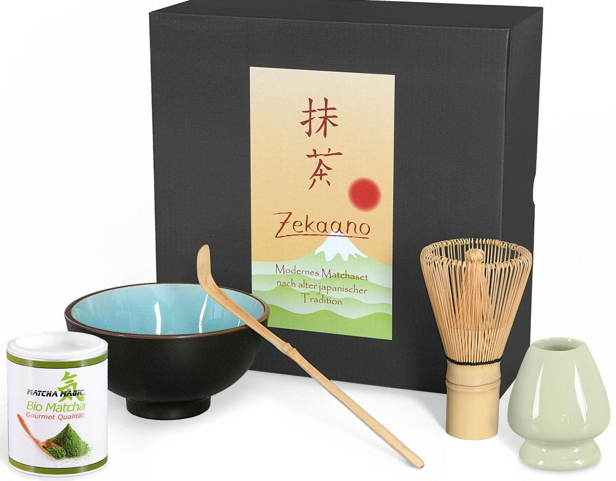 Aricola®, organic matcha starter set, 5 pcs, sky blue crackle, includes matcha bowl, matcha spoon and bamboo matcha whisk, elegant gift box - Aricola®