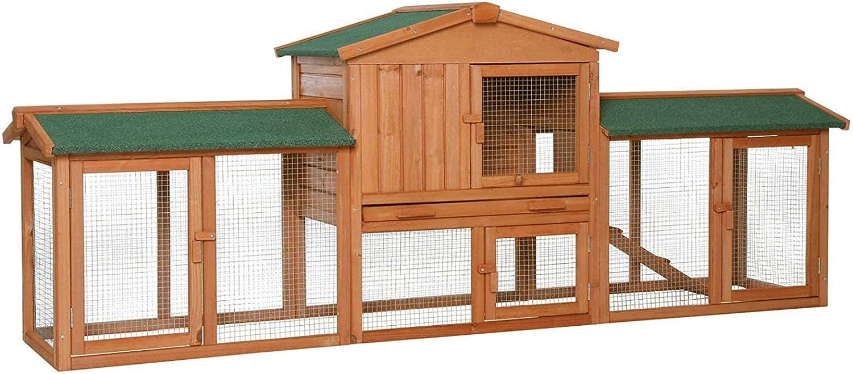 Dibea Conejera XXL Refugio para Mascotas pequeñas Chalet Conejos 223x52x85 cm