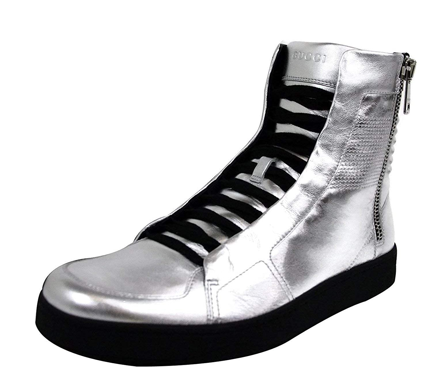e3c71a893 Amazon.com: Gucci Men's Silver Leather Limited Edition High-top Sneakers  376191 8163: Shoes