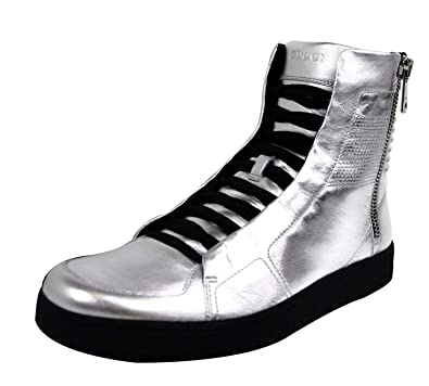 75c5525b8f2 Gucci Men s Silver Leather Limited Edition High top Sneakers 376191 8163  (6.5 G   7