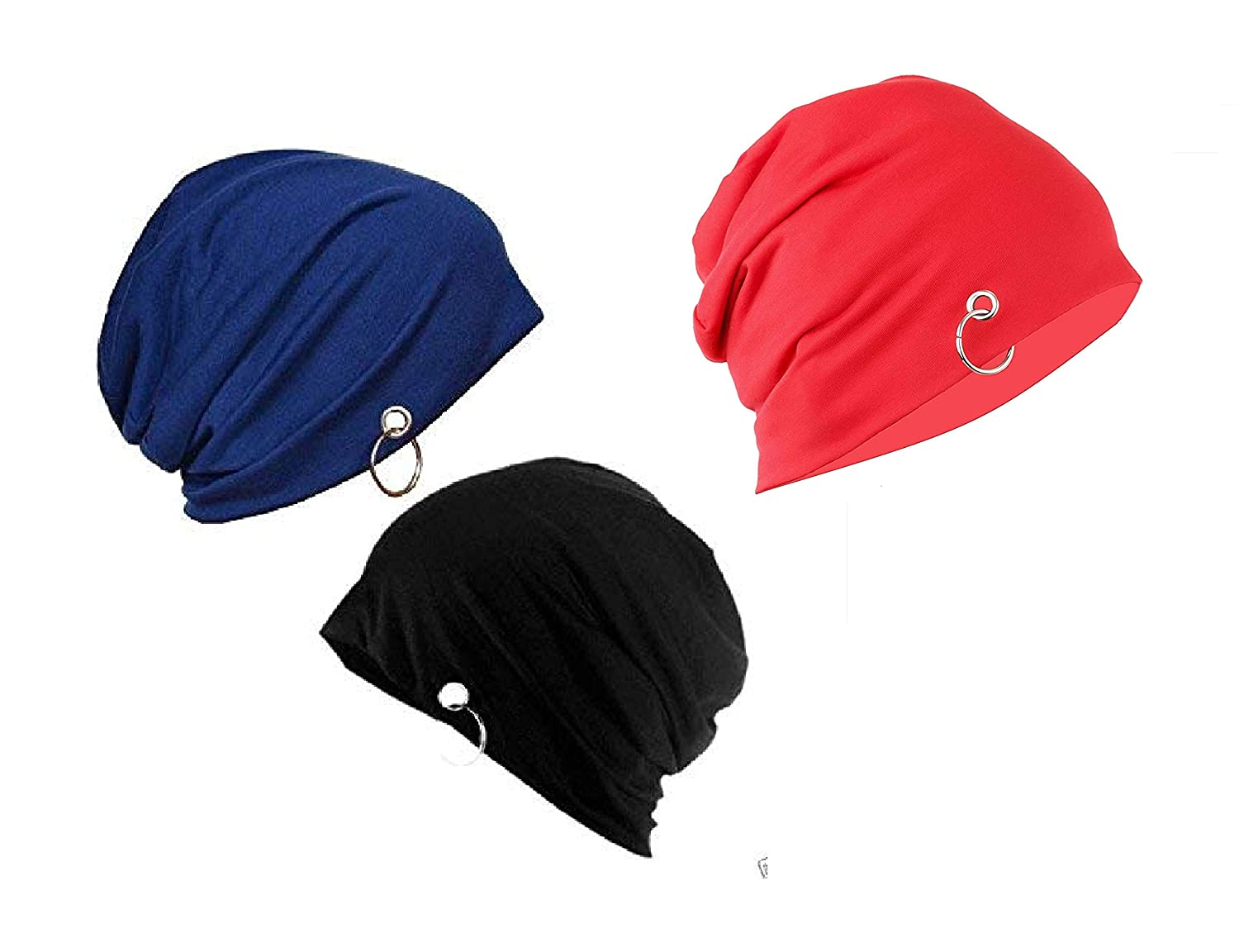 Stylathon Beanie Skull Cap with Ring for Men and Women Winter Cap - Blue +  Black + Red  Amazon.in  Clothing   Accessories af4a3479a88