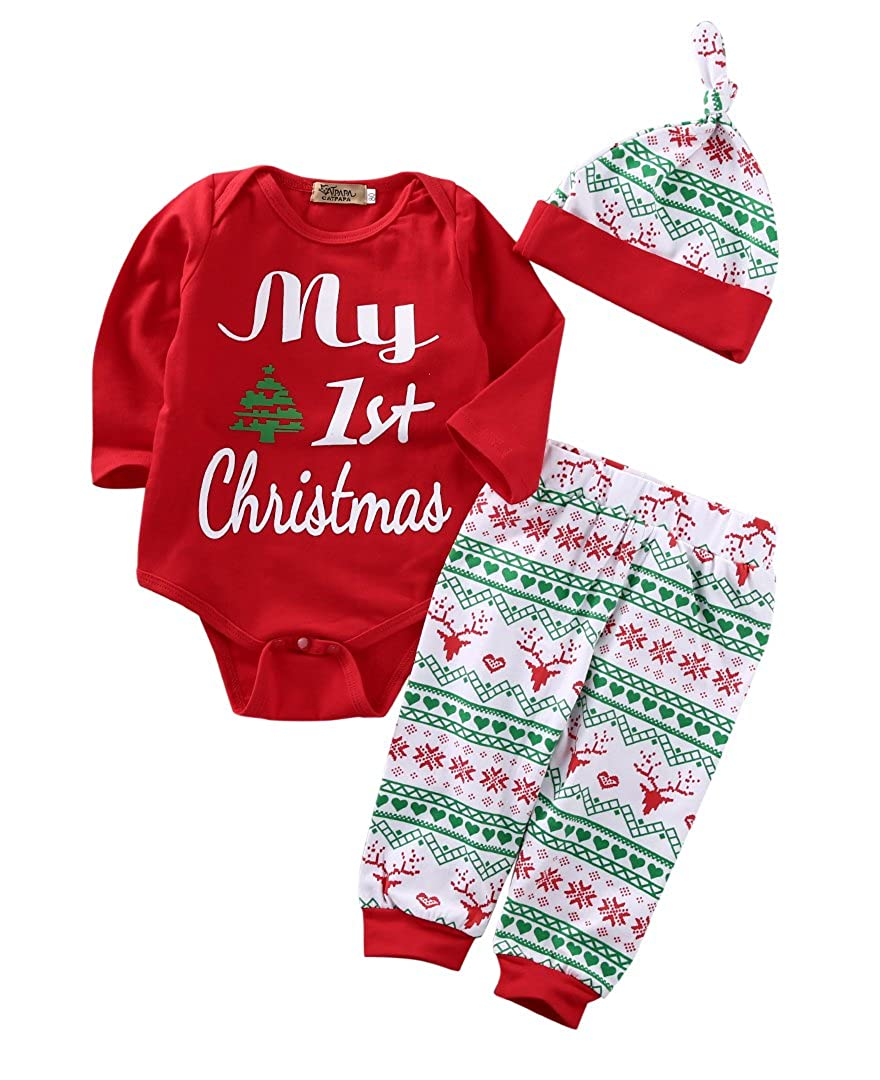 Zekky 3PCS Newborn Baby Boys Girls Christmas Xmas Clothes Romper Pants Hat Outfits