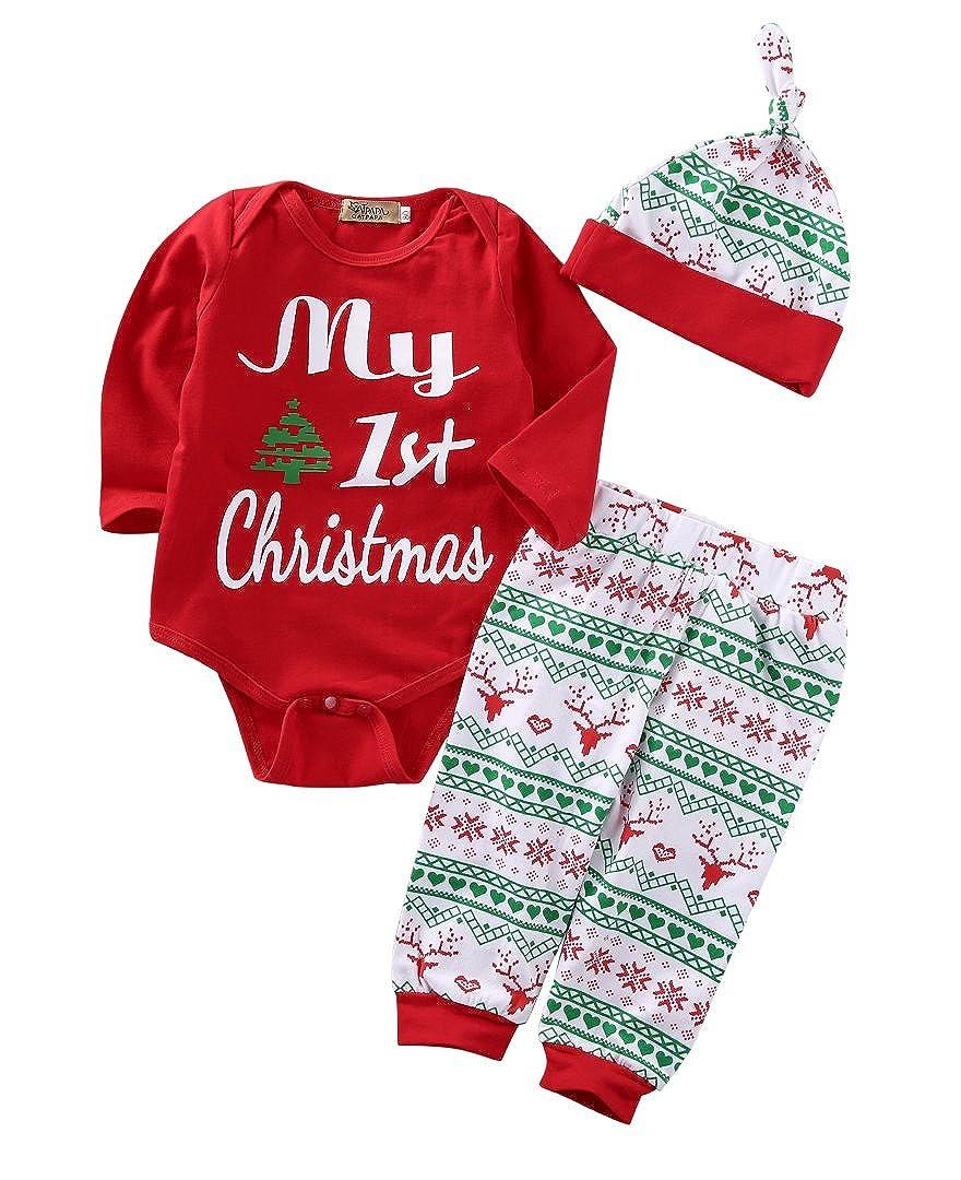 Zekky 3PCS Newborn Baby Boys Girls Christmas Xmas Clothes Romper Pants Hat Outfits
