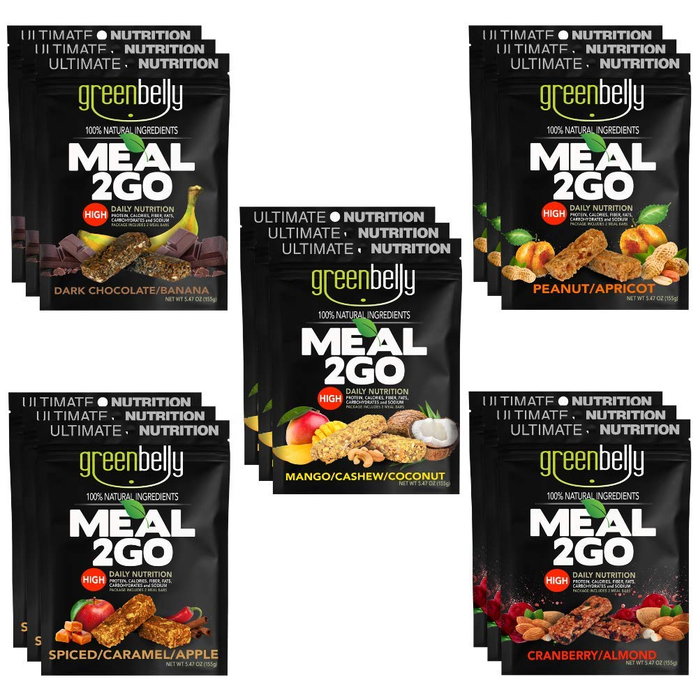 Greenbelly Backpacking Meals - Backpacking Food, Appalachian Trail Food Bars, Ultralight, Non-Cook, High-Calorie, Gluten-Free, Ready-to-Eat, All Natural Meal Bars (Variety, 15 Meals)