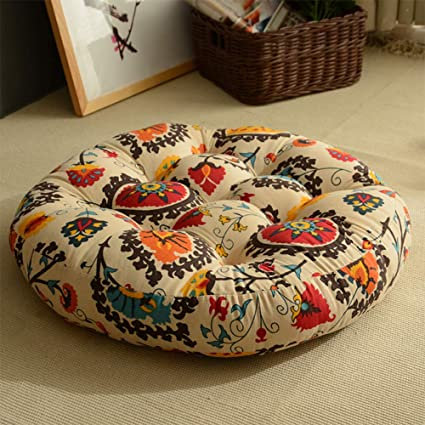 Fabulous Amazon Com Japanese Style Linen Outdoor Round Seat Cushions Forskolin Free Trial Chair Design Images Forskolin Free Trialorg