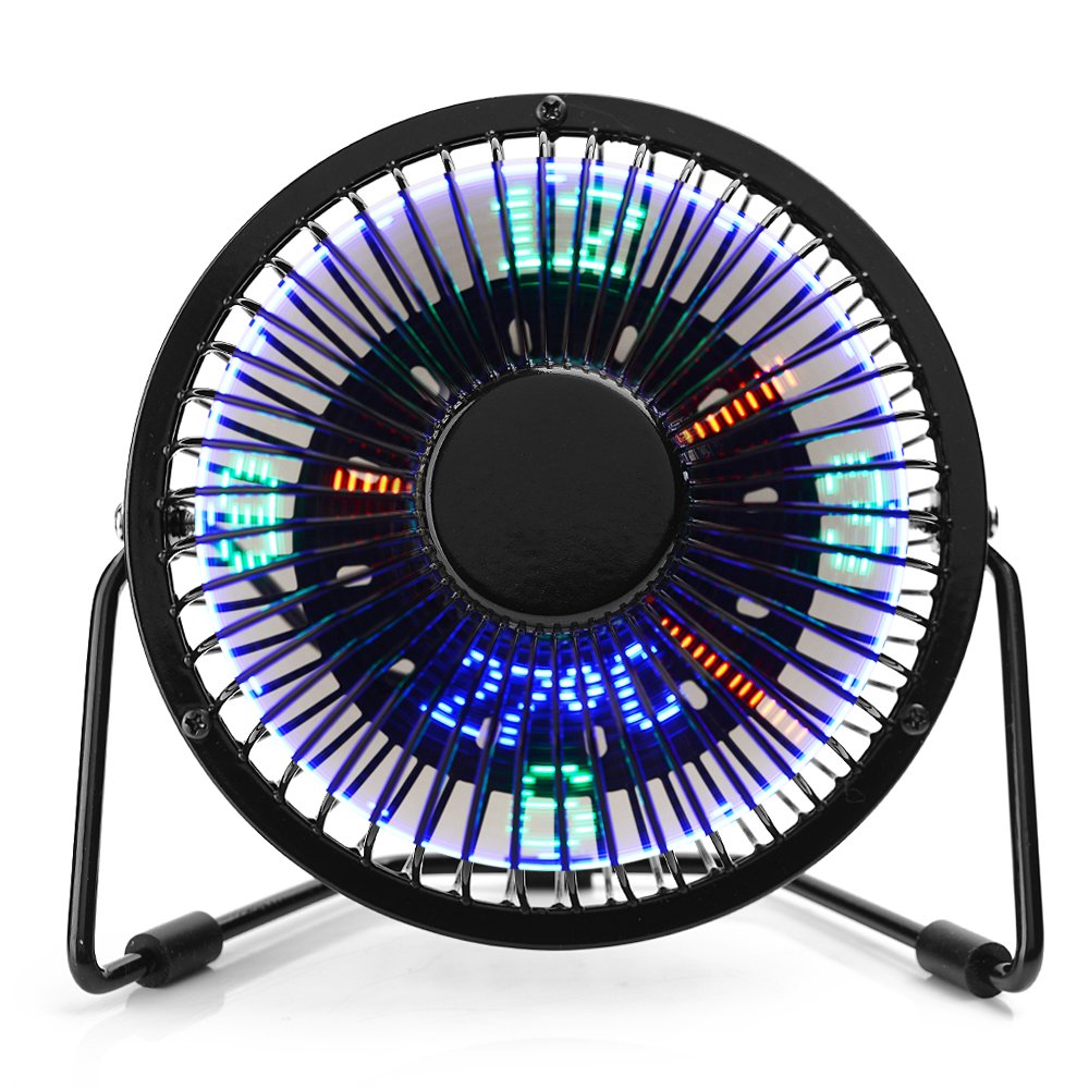 AUSXINX Mini USB Fan, Desk Fan with Time LED Display, 360°Rotation Portable Little Personal Cooling Fan, Quiet Table Fan with Temperature Display for Office Home Desktop-Black