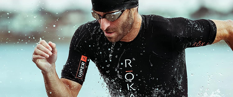 ROKA Mens Viper X Short Sleeve Swimskin for Swimming and Triathlon Black