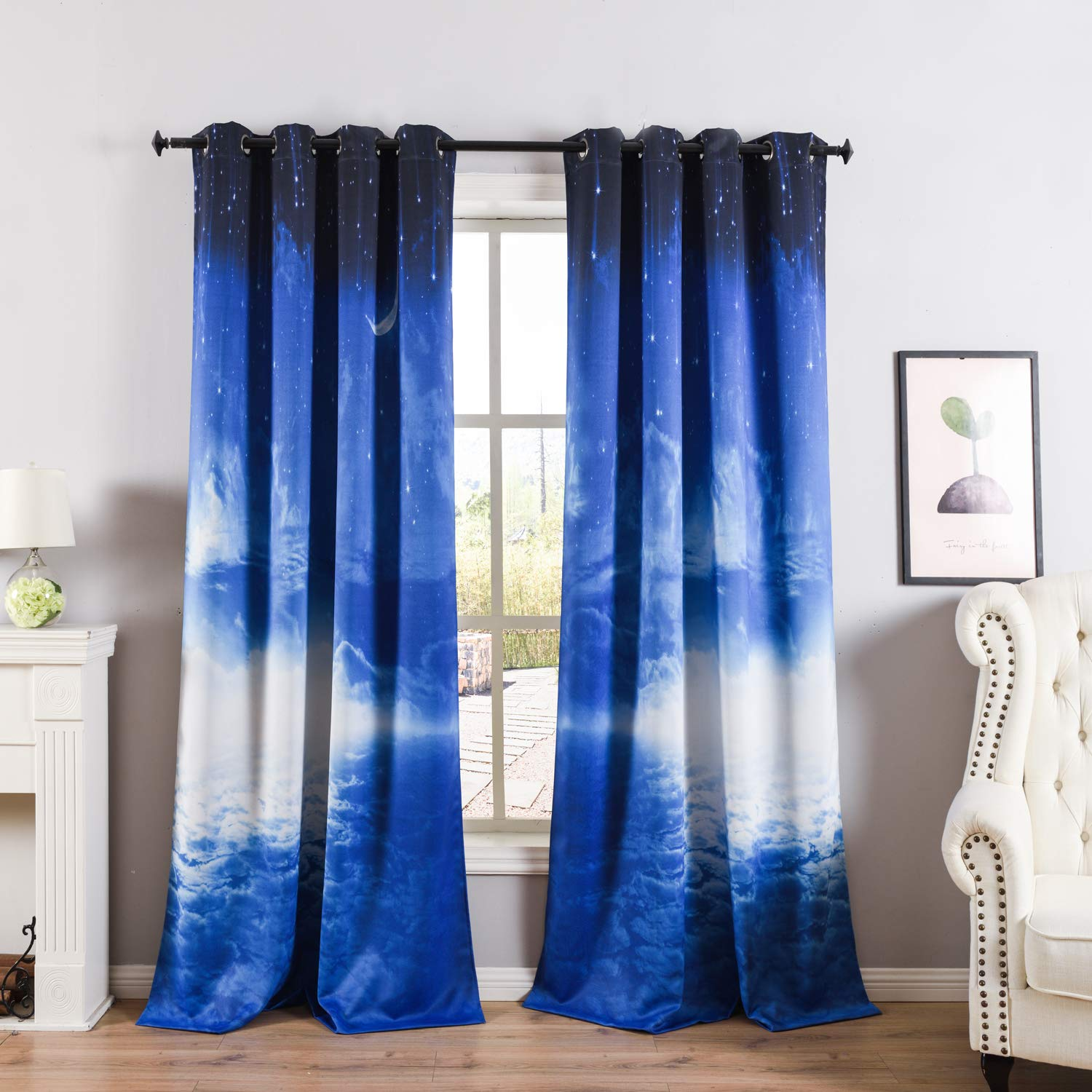 Galaxy Star 84 L  Pair Taisier Home colorful Magnolia Pattern Curtains Printed 95 Inches Long for Bedroom,Set of 2 Panels 2 Tiebacks Grommet Top Floral Curtain Drapes for Living Room Garden(52 ×95 ,Big Flower)