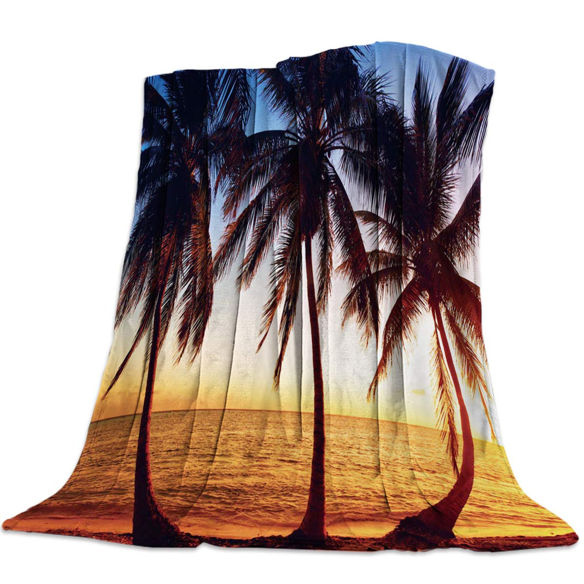 Coconut Beach14yag1615 49x59inch=125x150cm YEHO Art Gallery 49x59 Inch Flannel Fleece Bed Blanket Soft ThrowBlankets for Girls Boys,The Scenery of Sunset Coconut,Cozy Lightweight Blankets for Bedroom Living Room Sofa Couch
