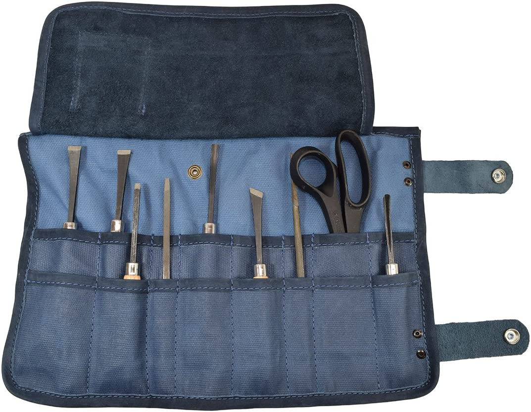 Hide Drink, Waxed Canvas Snap Tool Roll Up Bag 16 Slots , Portable Carry Case for Barbers, Salon Storage Organizer Pouch, Classic Vintage Style, Handmade Includes 101 Year Warranty Blue Mar