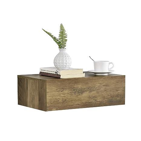 [en.casa]®] Mesita de Noche de Pared con un cajón - Apariencia de Madera - 46x30x15cm