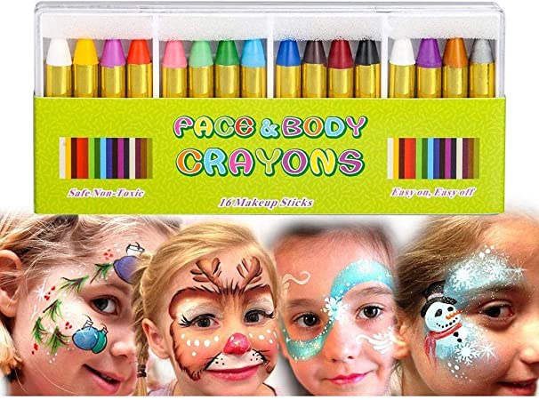 Painting Face kit Crayons, 16 Colors Non-toxic Makeup Face Paint Sticks Body Tattoo Crayons Kit for Kids, Children, Toddlers, Party, Cosplay,fantiff
