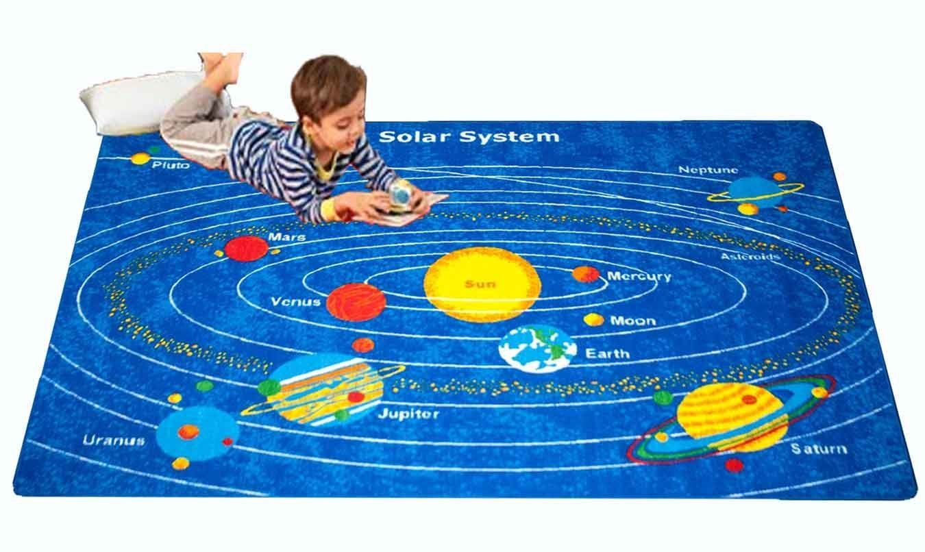 Kids Rug 8 x 11 Solar System Children's Area Rug - Non Skid Gel Backing- approximate ( 7'10'' X 11'3'')