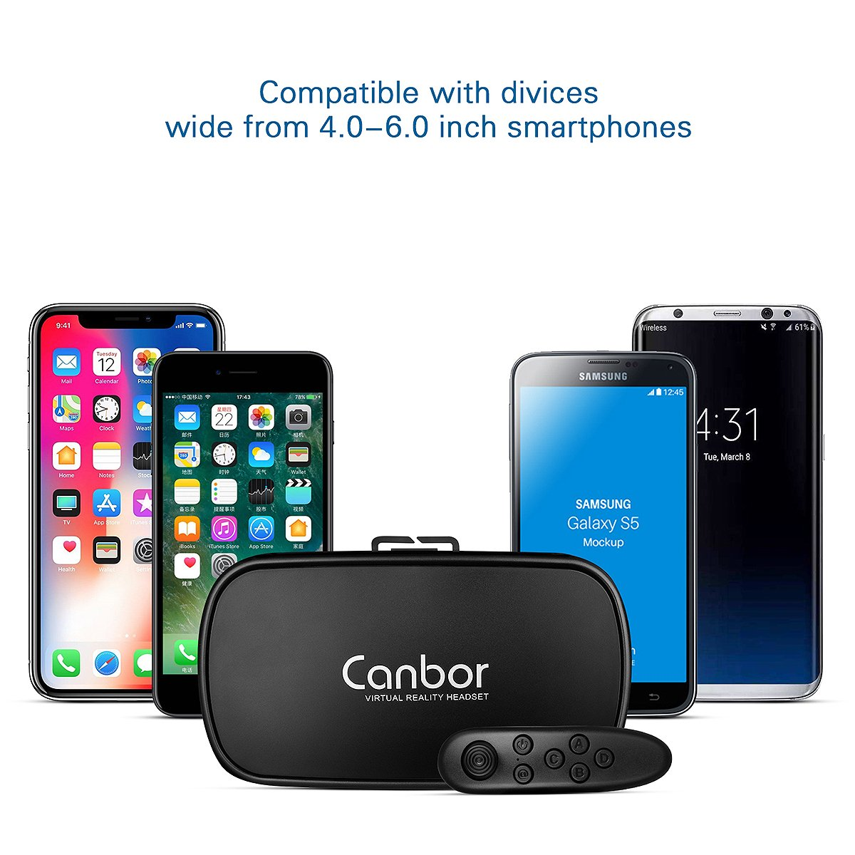 VR Headset, Canbor VR Goggles Virtual Reality Headset VR Glasses for 3D Video Movies Games for Apple iPhone, Samsung Huwei HTC More Smartphones by Canbor (Image #3)