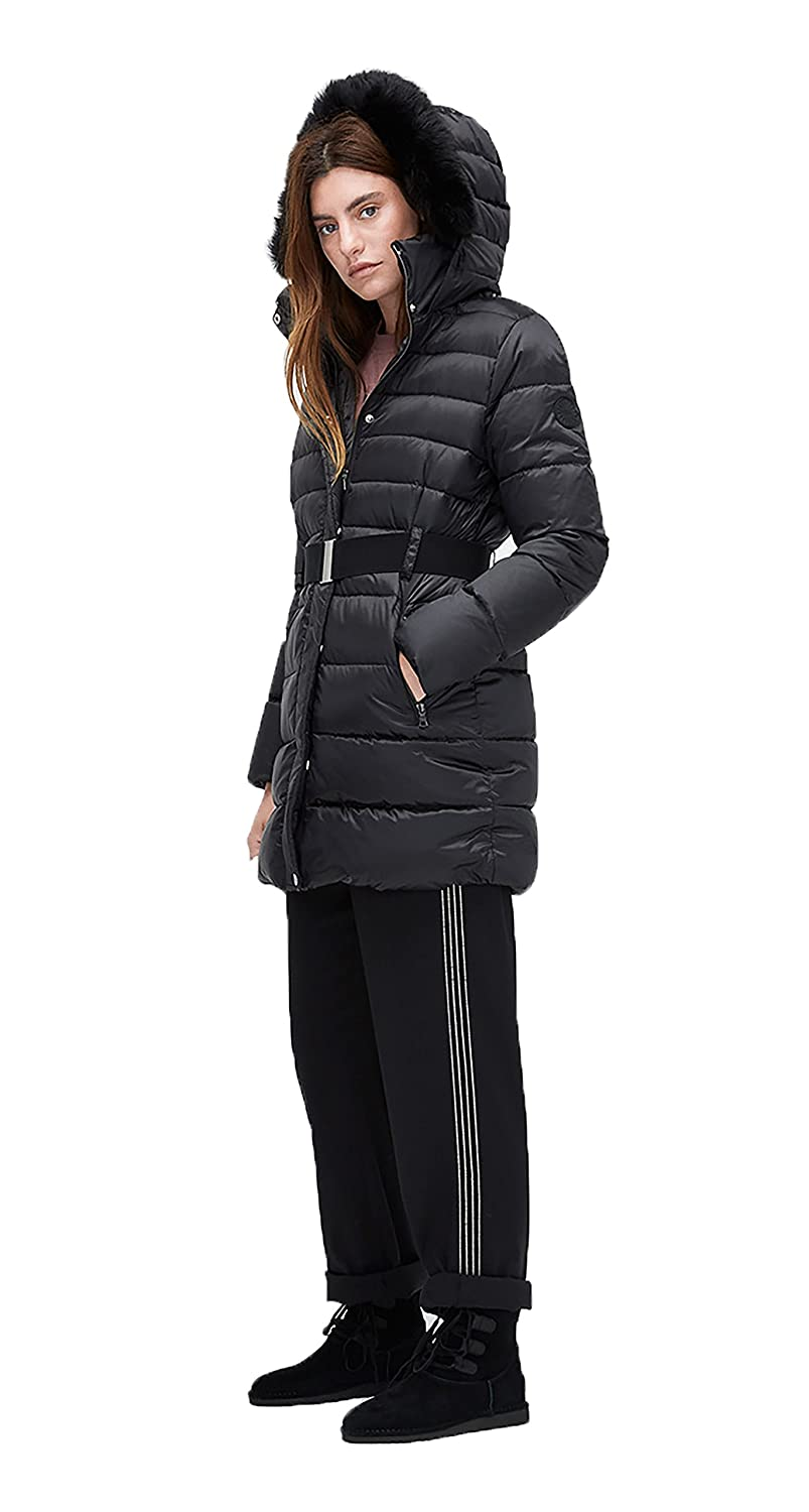 Ugg women belted down jacket black small at amazon women coats shop long  coat jpg 803x1500 928d0f266